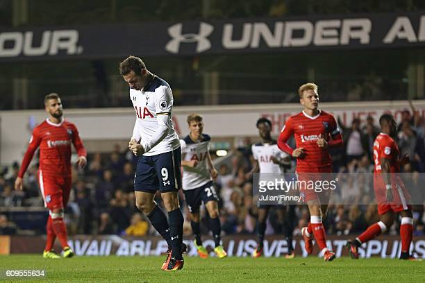 Vincent Janssen of Tottenham Hotspur celebrates scoring his sides third goal during the EFL Cup Third Round match between Tottenham Hotspur and...