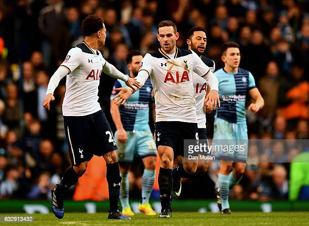 Vincent Janssen of Tottenham Hotspur celebrates scoring his sides second goal with his team mate Dele Alli during the Emirates FA Cup Fourth Round...