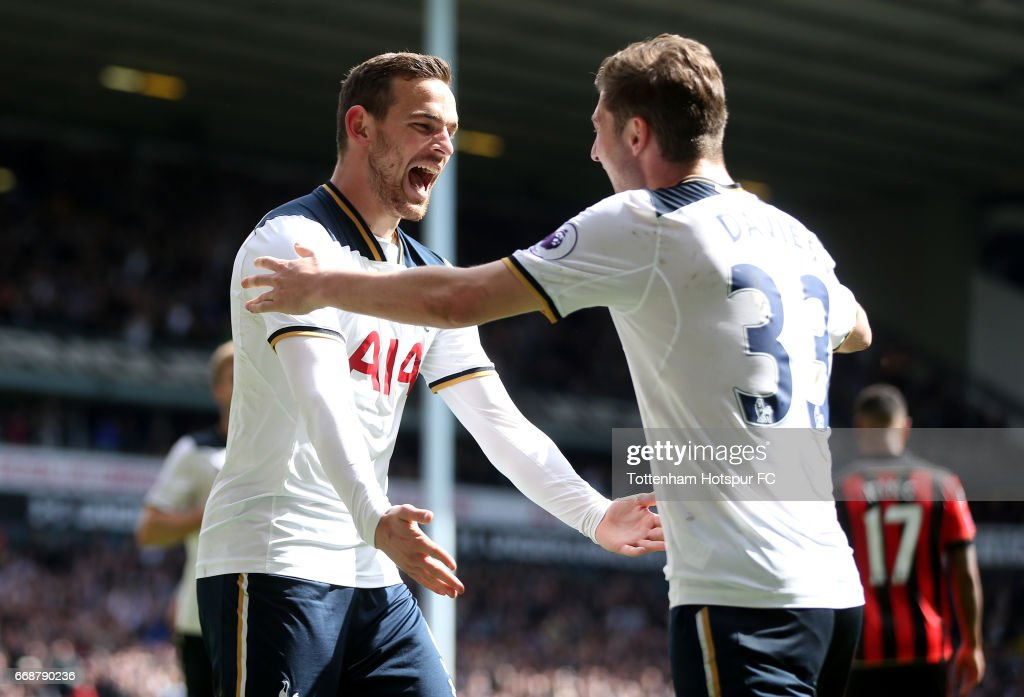 Vincent Janssen of Tottenham Hotspur (L) celebrates scoring his sides fourth goal with Ben Davies of Tottenham Hotspur (R) during the Premier League match between Tottenham Hotspur and AFC Bournemouth at White Hart Lane on April 15, 2017 in London, England.
