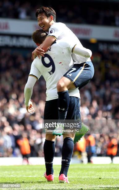 Vincent Janssen of Tottenham Hotspur celebrates scoring his sides fourth goal with HeungMin Son of Tottenham Hotspur during the Premier League match...