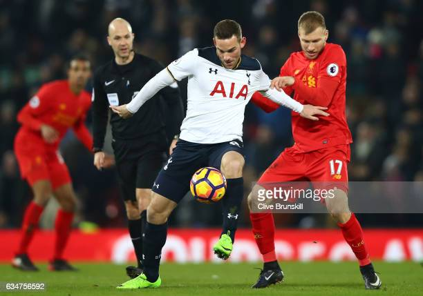Vincent Janssen of Tottenham Hotspur controlls the ball under pressure from Ragnar Klavan of Liverpool during the Premier League match between...