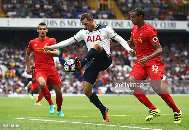 Vincent Janssen of Tottenham Hotspur controls the ball during the Premier League match between Tottenham Hotspur and Liverpool at White Hart Lane on...