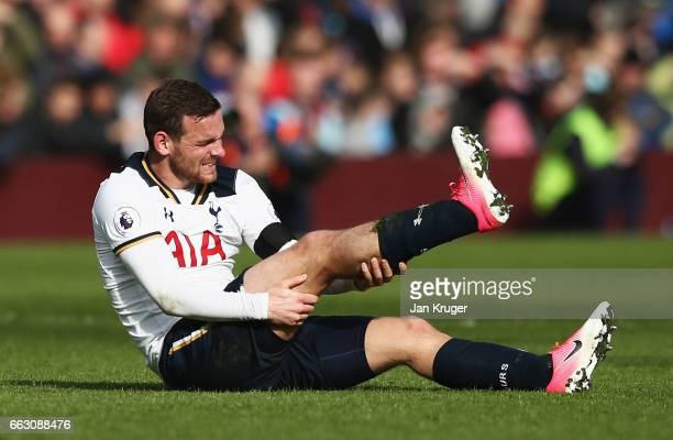 Vincent Janssen of Tottenham Hotspur goes down injured during the Premier League match between Burnley and Tottenham Hotspur at Turf Moor on April 1...