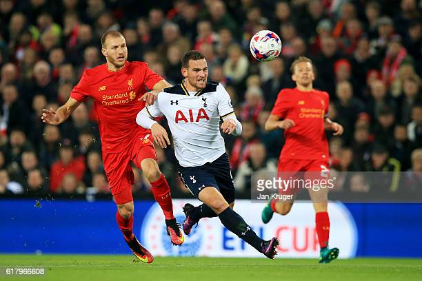 Vincent Janssen of Tottenham Hotspur is fouled by Ragnar Klavan of Liverpool during the EFL Cup fourth round match between Liverpool and Tottenham...
