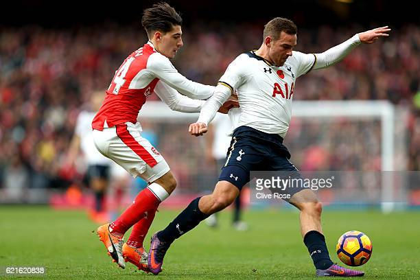 Vincent Janssen of Tottenham Hotspur is tackled by Hector Bellerin of Arsenal during the Premier League match between Arsenal and Tottenham Hotspur...