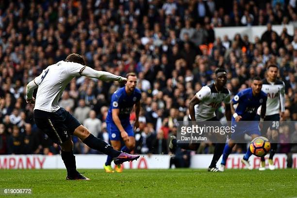 Vincent Janssen of Tottenham Hotspur scores from the penalty spot to score his sides first goal during the Premier League match between Tottenham...