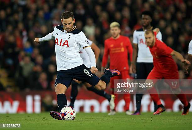 Vincent Janssen of Tottenham Hotspur scores his sides first goal from the penalty spot during the EFL Cup fourth round match between Liverpool and...