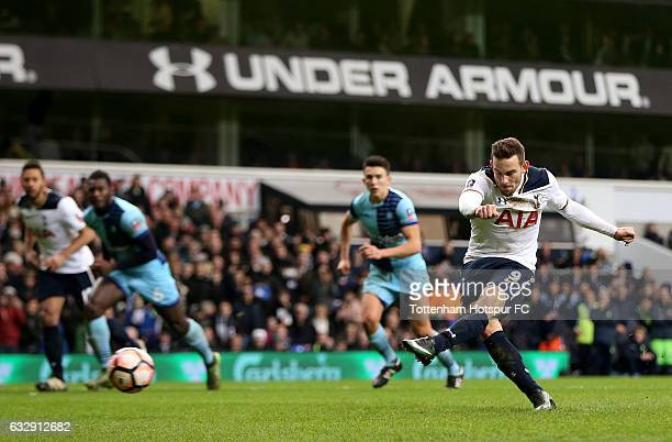 Vincent Janssen of Tottenham Hotspur scores his sides second goal from the penalty spot during the Emirates FA Cup Fourth Round match between...