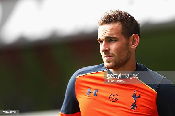 Vincent Janssen of Tottenham Hotspur warms up during the Premier League match between Tottenham Hotspur and Liverpool at White Hart Lane on August 27...
