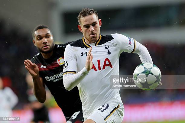 Vincent Janssen of Tottenham runs with the ball during the UEFA Champions League group E match between Bayer 04 Leverkusen and Tottenham Hotspur FC...