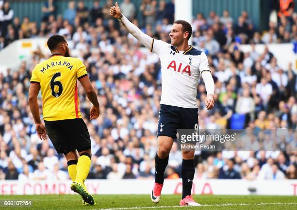 Vincent Janssen of Tttenham Hotspur gives his team mates a thumbs up during the Premier League match between Tottenham Hotspur and Watford at White...