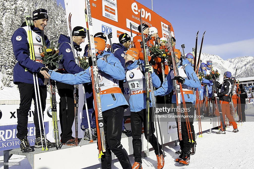 Vincent Jay, Jean Guillaume Beatrix, Alexis Boeuf, Martin Fourcade of France takes 2nd place during the IBU Biathlon World Cup Men's Relay on December 9, 2012 in Hochfilzen, Austria.