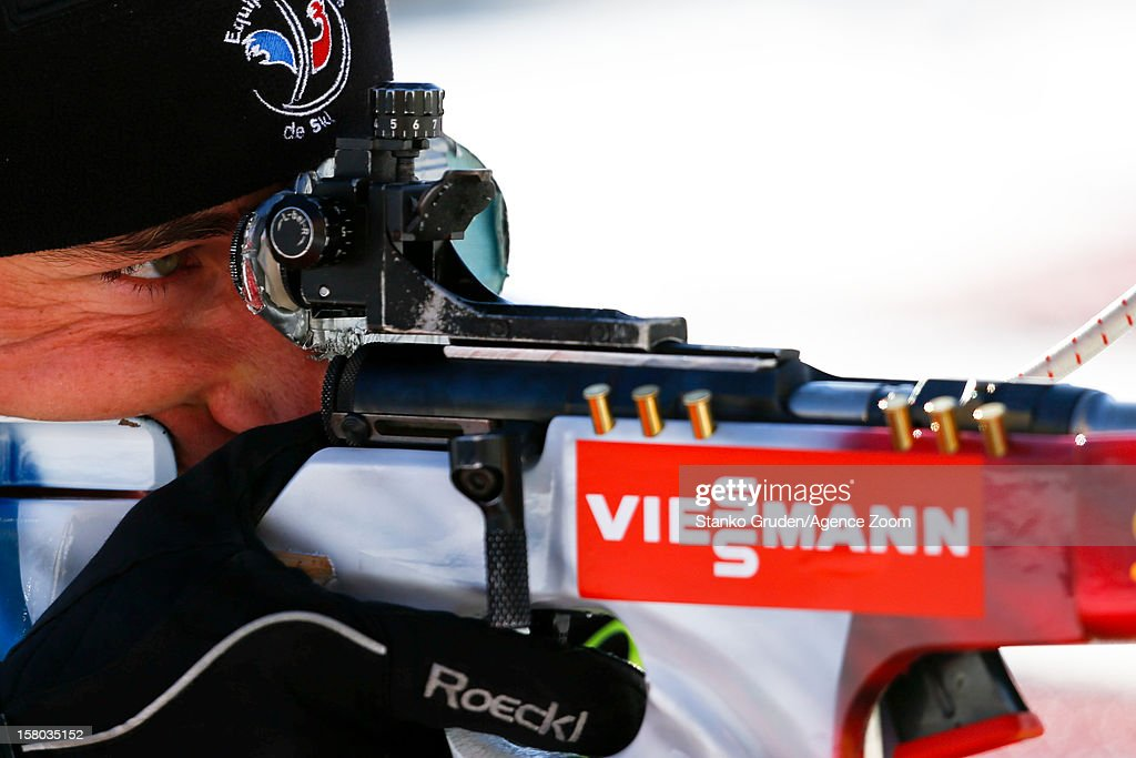 Vincent Jay takes 2nd place during the IBU Biathlon World Cup Men's Relay on December 09, 2012 in Hochfilzen, Austria.