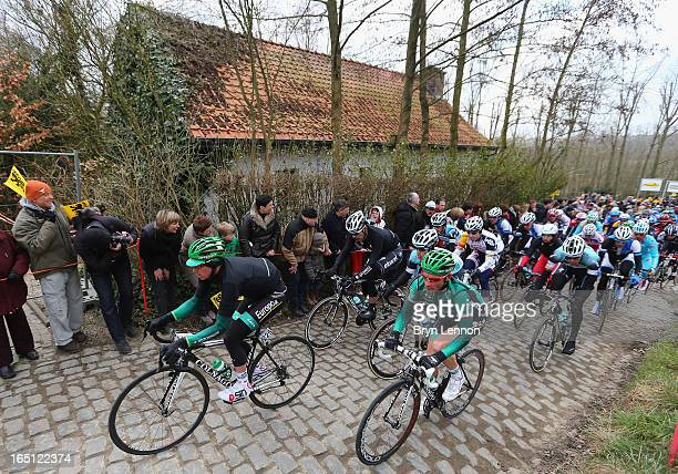 Vincent Jerome and Thomas Voeckler of team Europcar in action during the 97th edition of the Tour of Flanders on March 31 2013 in Brugge Belgium