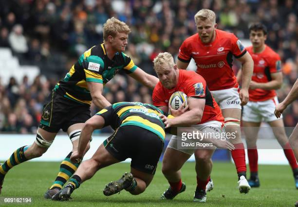 Vincent Koch of Saracens is tackled during the Aviva Premiership match between Northampton Saints and Saracens at Stadium mk on April 16 2017 in...