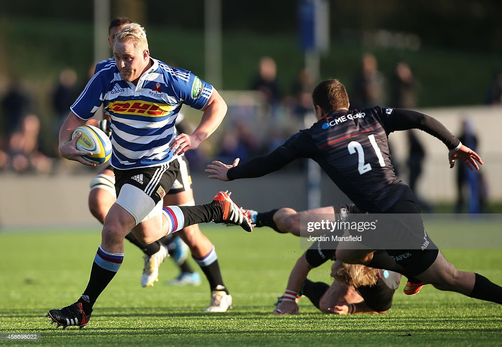 Vincent Koch of Western Province breaks past Ben Spencer of Saracens during the match between Saracens and DHL Western Province at Allianz Park on...