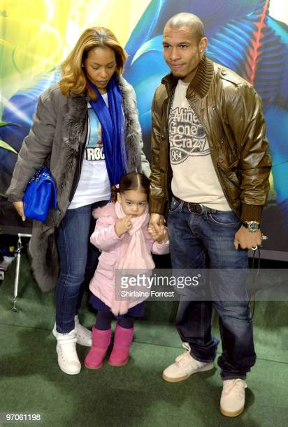 Vincent Kompany and family attend a green carpet photocall for Cirque du Soleil's 'Varekai' at The White Grand Chapiteau at The Trafford Centre on...