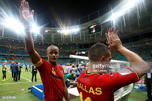 Vincent Kompany and Kevin Mirallas of Belgium celebrate the 21 win after the 2014 FIFA World Cup Brazil Round of 16 match between Belgium and USA at...