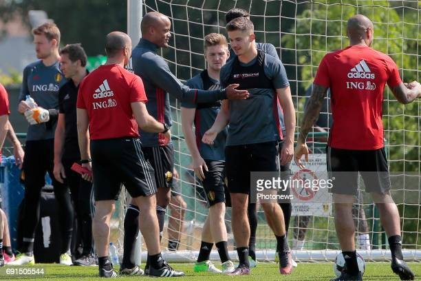 Vincent Kompany defender of Belgium with Leander Dendoncker midfielder of Belgium during a training session prior to the friendly macth against Czech...
