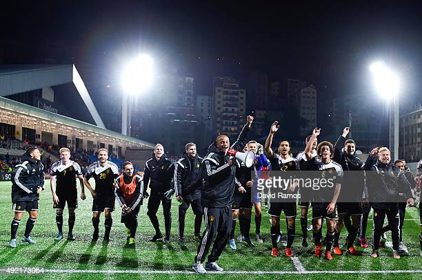 Vincent Kompany of Belgium celebrates with this teammates after defeating andorra at the end of the UEFA EURO 2016 Qualifier match between Andorra...