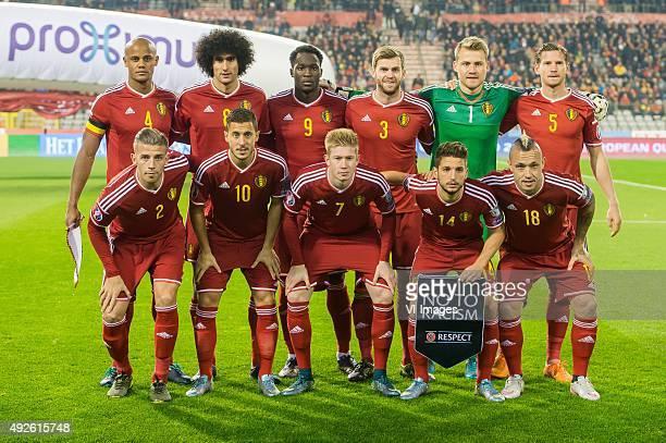 Vincent Kompany of Belgium Marouane Fellaini of Belgium Romelu Lukaku of Belgium Nicolas Lombaerts of Belgium goalkeeper Simon Mignolet of Belgium...