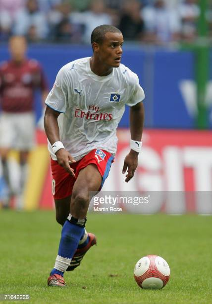 Vincent Kompany of Hamburg runs with the ball the Bundesliga match between Hamburger SV and Arminia Bielefeld at the AOL Arena on August 12 2006 in...
