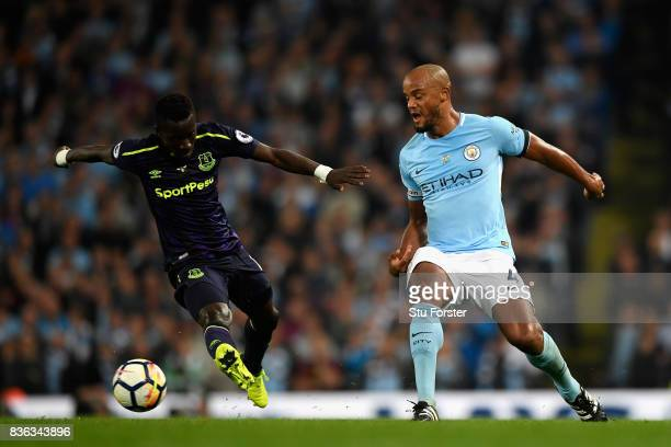 Vincent Kompany of Manchester City and Idrissa Gueye of Everton during the Premier League match between Manchester City and Everton at Etihad Stadium...