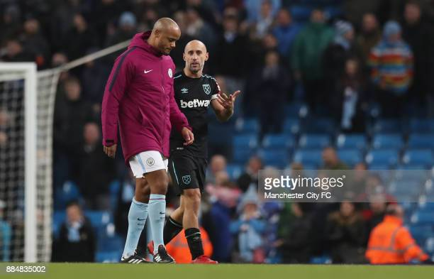 Vincent Kompany of Manchester City and Pablo Zabaleta of West Ham United in conversation after the Premier League match between Manchester City and...
