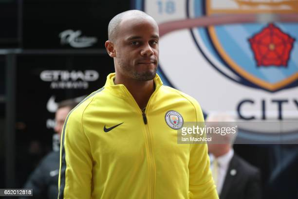 Vincent Kompany of Manchester City arrives at the stadium ahead of The Emirates FA Cup QuarterFinal match between Middlesbrough and Manchester City...