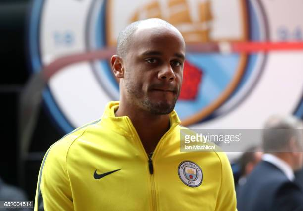Vincent Kompany of Manchester City arrives at the stadium prior to The Emirates FA Cup QuarterFinal match between Middlesbrough and Manchester City...