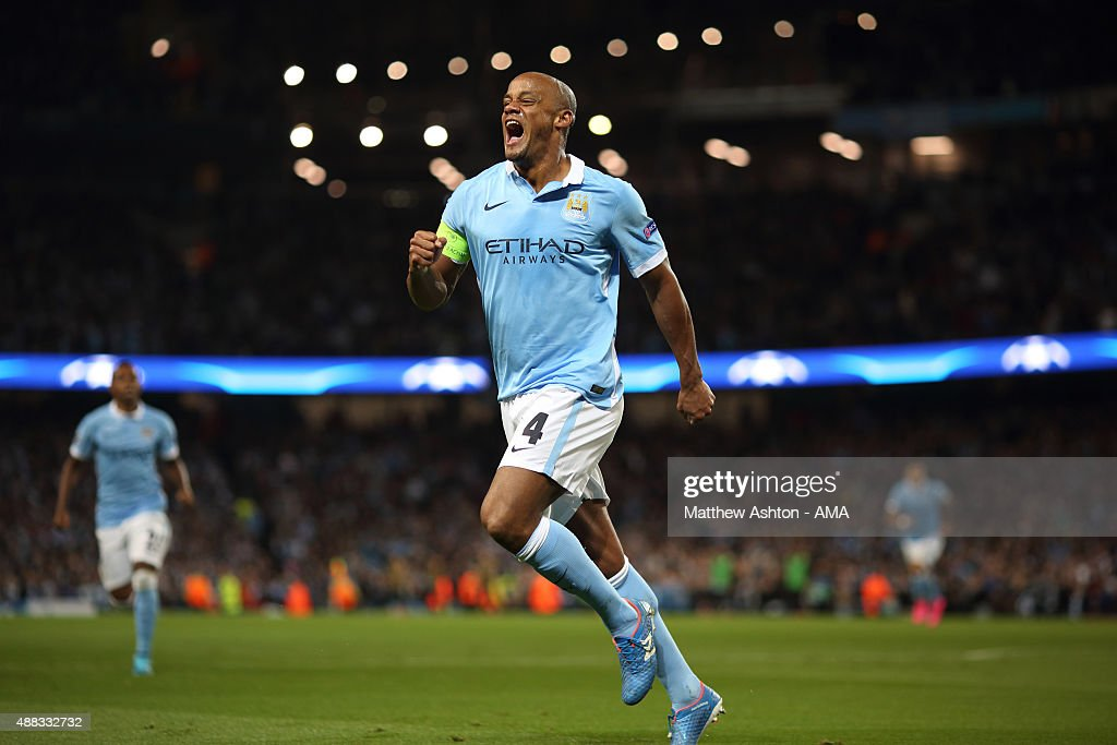 <a gi-track='captionPersonalityLinkClicked' href=/galleries/search?phrase=Vincent+Kompany&family=editorial&specificpeople=504694 ng-click='$event.stopPropagation()'>Vincent Kompany</a> of Manchester City celebrates after Giorgio Chiellini of Juventus scored an own goal to make it 1-0 during the UEFA Champions League Group D match between Manchester City FC and Juventus at the Etihad Stadium on September 15, 2015 in Manchester, United Kingdom.