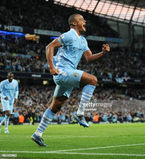 Vincent Kompany of Manchester City celebrates after scoring a goal during the Barclays Premier League match between Manchester City and Manchester...