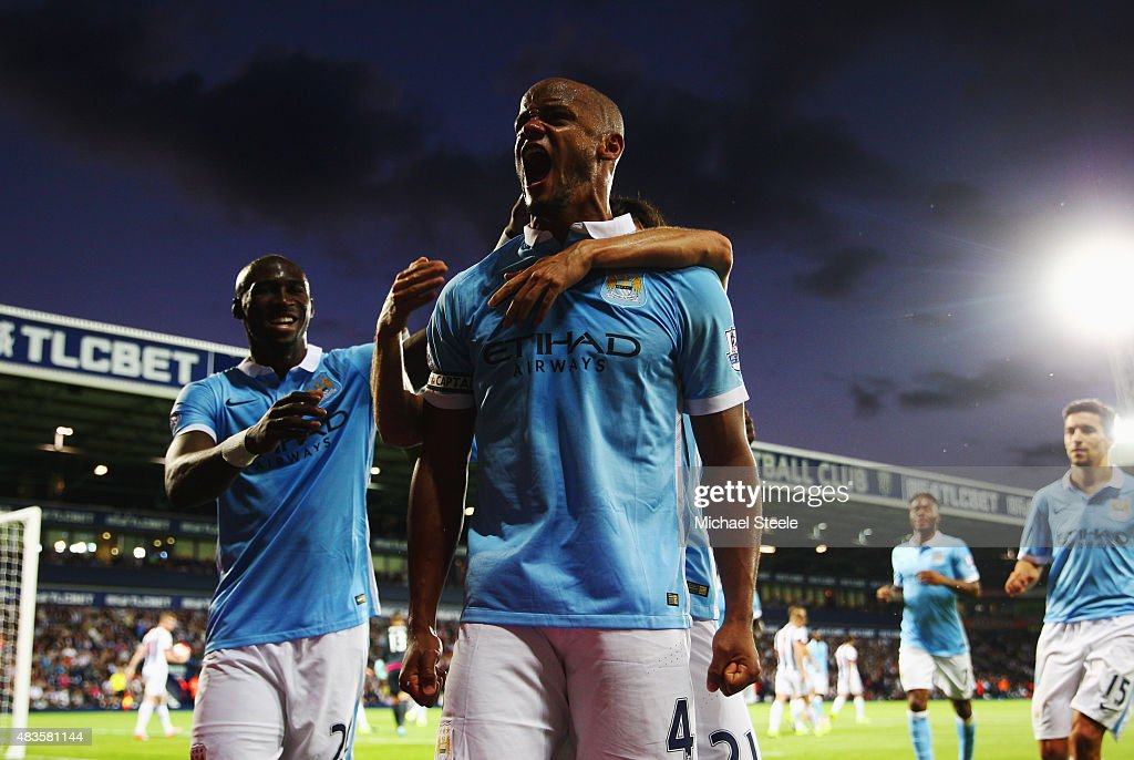 <a gi-track='captionPersonalityLinkClicked' href=/galleries/search?phrase=Vincent+Kompany&family=editorial&specificpeople=504694 ng-click='$event.stopPropagation()'>Vincent Kompany</a> of Manchester City (4) celebrates as he scores their third goal during the Barclays Premier League match between West Bromwich Albion and Manchester City at The Hawthorns on August 10, 2015 in West Bromwich, England.
