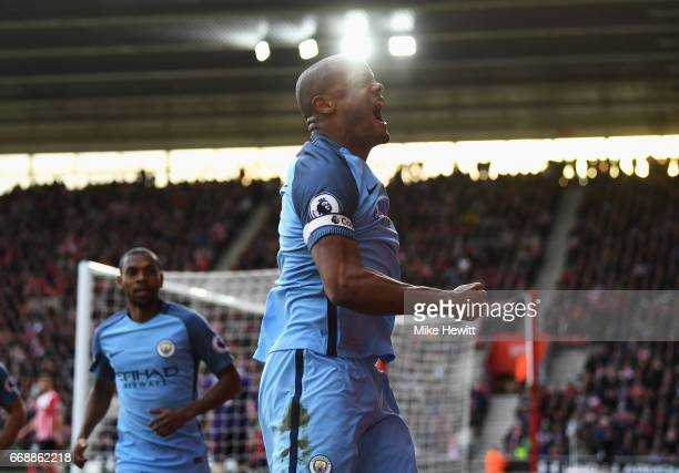 Vincent Kompany of Manchester City celebrates scoring his sides first goal during the Premier League match between Southampton and Manchester City at...