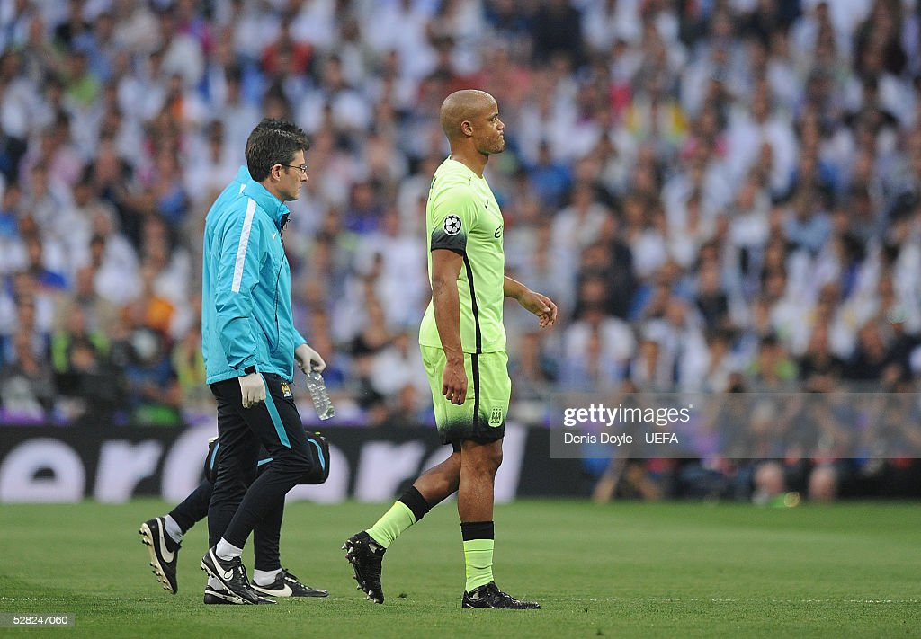 Vincent Company of Manchester City comes off injured during the UEFA Champions League Semi Final second leg match between Real Madrid and Manchester City FC at Estadio Santiago Bernabeu on May 4, 2016 in Madrid, Spain.