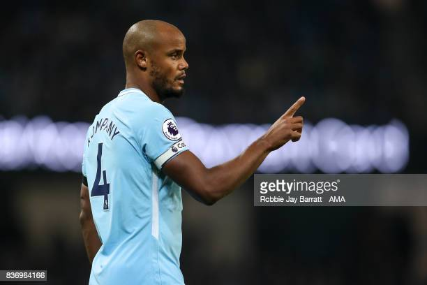 Vincent Kompany of Manchester City during the Premier League match between Manchester City and Everton at Etihad Stadium on August 21 2017 in...