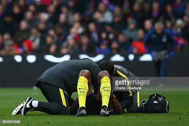 Vincent Kompany of Manchester City goes down injured during the Premier League match between Crystal Palace and Manchester City at Selhurst Park on...