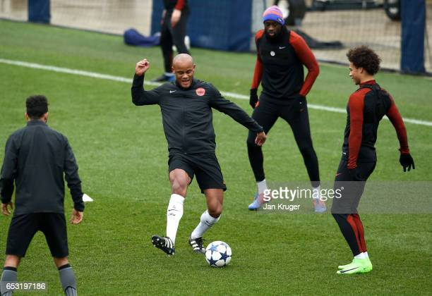 Vincent Kompany of Manchester City in action during a Manchester City training session prior to the UEFA Champions League Round of 16 Second Leg...