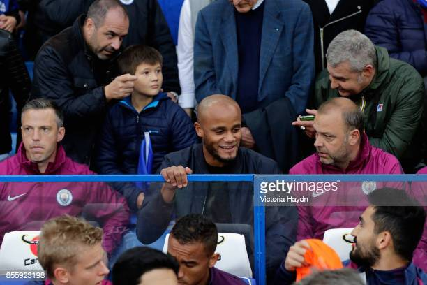 Vincent Kompany of Manchester City is seen in the stands during the Premier League match between Chelsea and Manchester City at Stamford Bridge on...