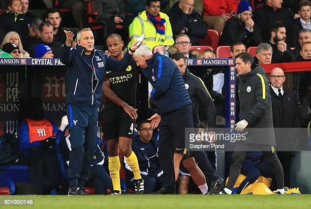 Vincent Kompany of Manchester City is taken off injured during the Premier League match between Crystal Palace and Manchester City at Selhurst Park...