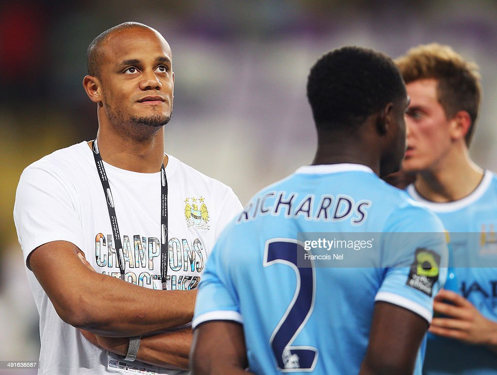 Vincent Kompany of Manchester City looks on after the friendly match between Al Ain and Manchester City at Hazza bin Zayed Stadium on May 15, 2014 in Al Ain, United Arab Emirates.