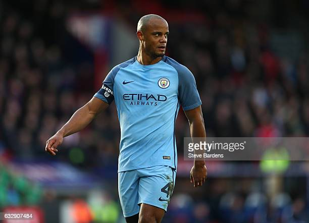 Vincent Kompany of Manchester City looks on during the Emirates FA Cup Fourth Round match between Crystal Palace and Manchester City at Selhurst Park...