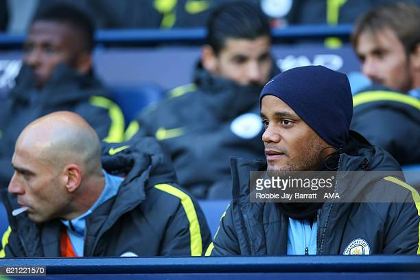 Vincent Kompany of Manchester City on the bench during the Premier League match between Manchester City and Middlesbrough at Etihad Stadium on...