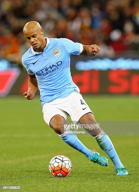Vincent Kompany of Manchester City passes the ball during the International Champions Cup friendly match between Manchester City and AS Roma at the...