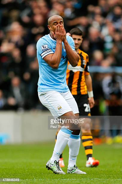 Vincent Kompany of Manchester City reacts after being shown the red card after bringing down Nikica Jelavic of Hull City during the Barclays Premier...