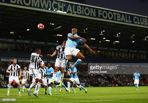 Vincent Kompany of Manchester City scores their third goal during the Barclays Premier League match between West Bromwich Albion and Manchester City...