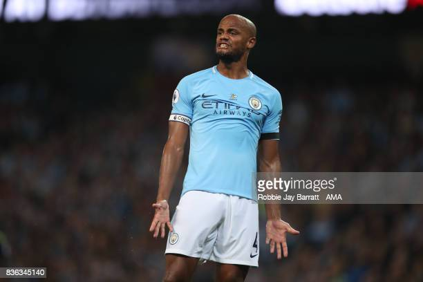 Vincent Kompany of Manchester City shows his frustration during the Premier League match between Manchester City and Everton at Etihad Stadium on...