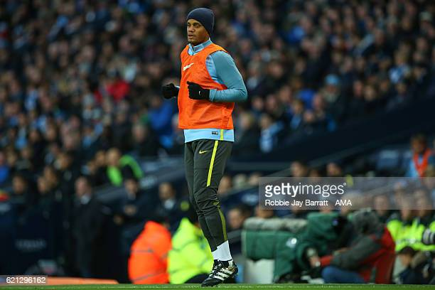 Vincent Kompany of Manchester City warming up during the Premier League match between Manchester City and Middlesbrough at Etihad Stadium on November...