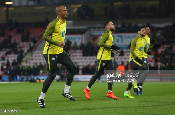 Vincent Kompany of Manchester City warms up before the Premier League match between AFC Bournemouth and Manchester City at Vitality Stadium on...
