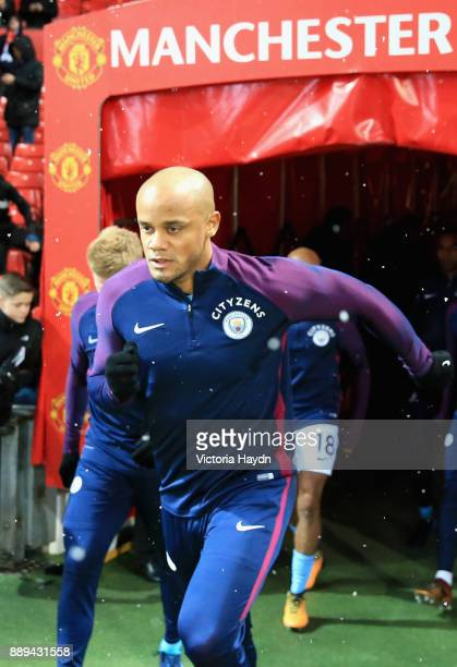 Vincent Kompany of Manchester City warms up during the Premier League match between Manchester United and Manchester City at Old Trafford on December...
